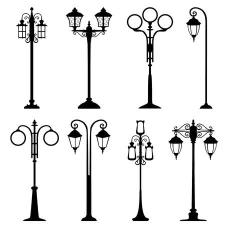 skylight: City street lanterns set, isolated illustration, different types