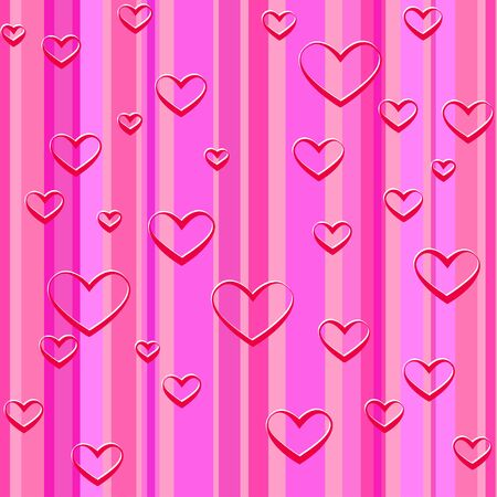 pink wallpaper: red hearts and pink lines wallpaper,  illustration Illustration