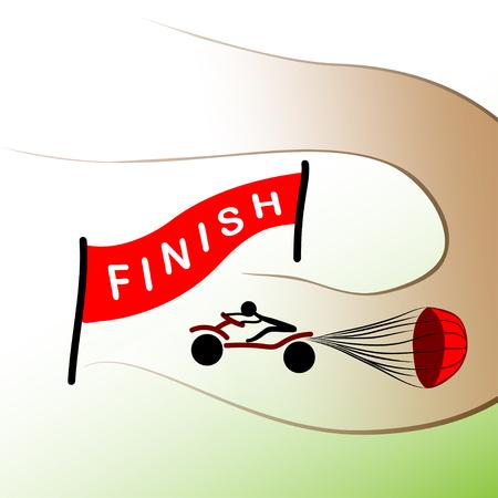 hamper: motorbike going to finish on races, parachute brake