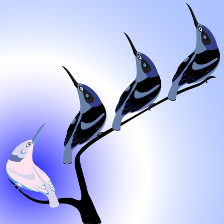 distinct: birds with long beaks on branch, conceptual illustration