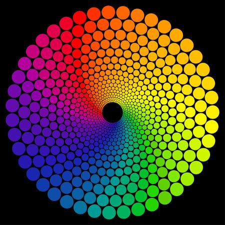 Ruota dei colori o il colore del cerchio isolato su sfondo nero