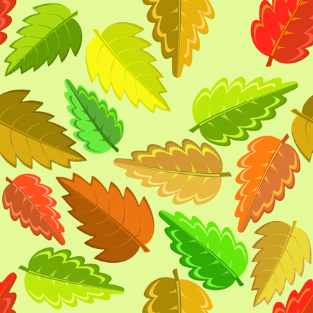 red leaves: bright autumn pattern with green, yellow, brown and red leaves