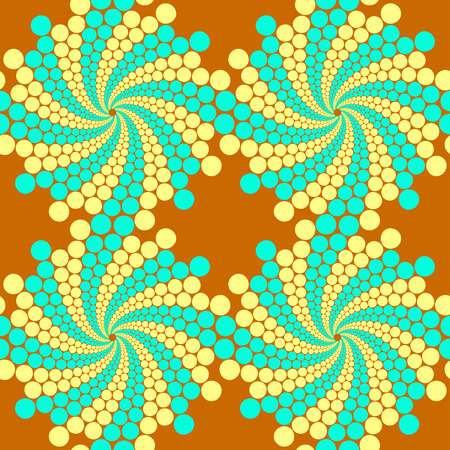 Exemplar: Seamless pattern, circles arrayed in lines, twisted into spirals Illustration
