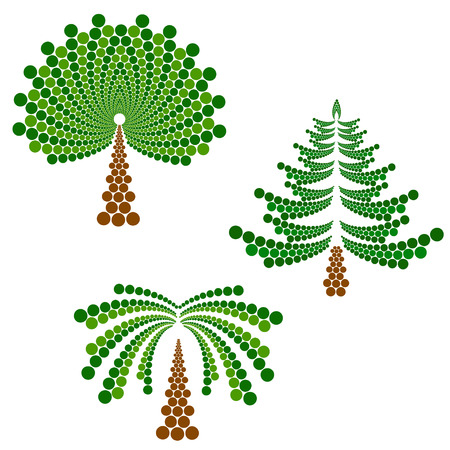 leafed: coniferous, deciduous tree and palm, stylized vector illustration Illustration
