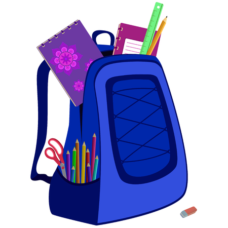 packsack: school bag packed with notebooks, pencils, scissors, ruler and eraser on white Illustration