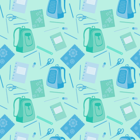packsack: school stationery and backpacks seamless vector pattern Illustration