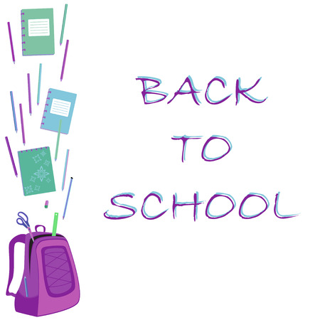 schoolbag: Back to school text with schoolbag, notebooks, pencils, scissors, ruler and eraser