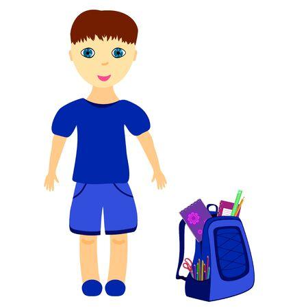 packsack: schoolboy with backpack, dressed in blue, vector illustration Illustration