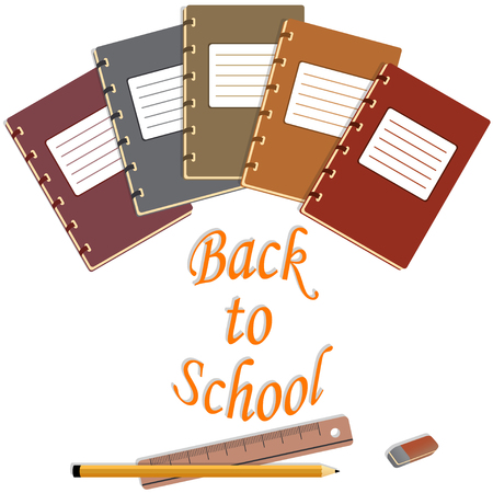 schoolwork: notebook, eraser, pencils, ruler abd back to school text, isolated illustration