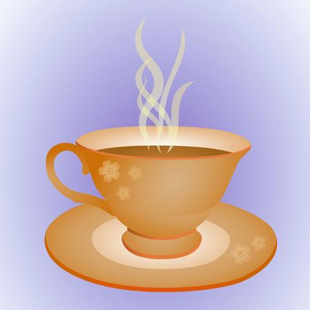 jachere: tasse de boisson chaude sur la plaque d�cor�e de fleurs Illustration