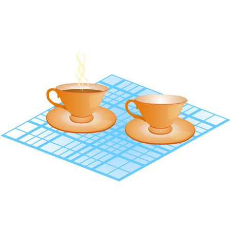 quencher: two cups on plates - empty and with drink