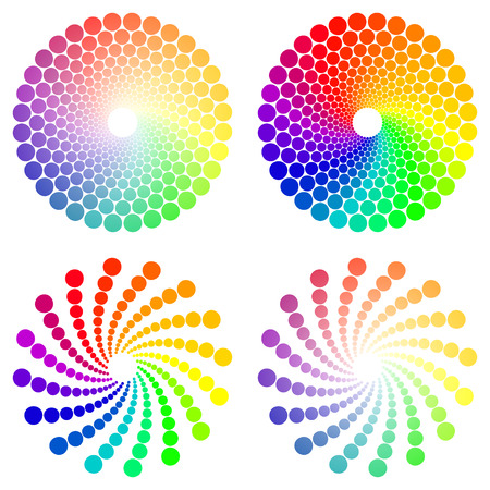 spectra: Color wheel or color circle icons set, isolated on white background Illustration