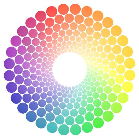 컬러 휠 또는 색 원은 흰색 배경에 고립