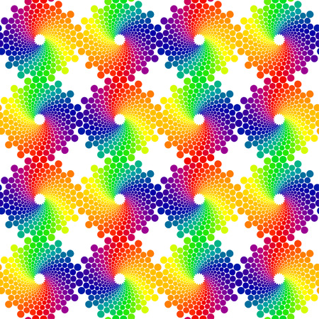 spectra: color circles seamless vector pattern on white background