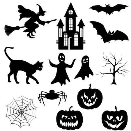 cat silhouette: Set of halloween silhouette on white background