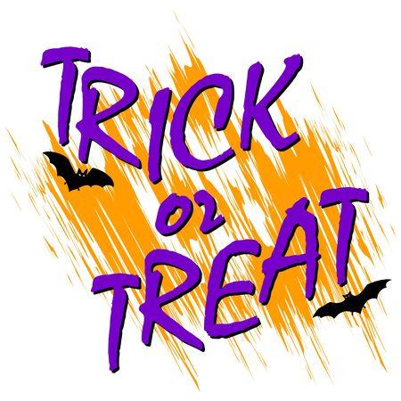 ot: trick ot treat text, halloween card with bats