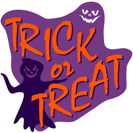 trick or treat: trick ot treat text, halloween card with ghost