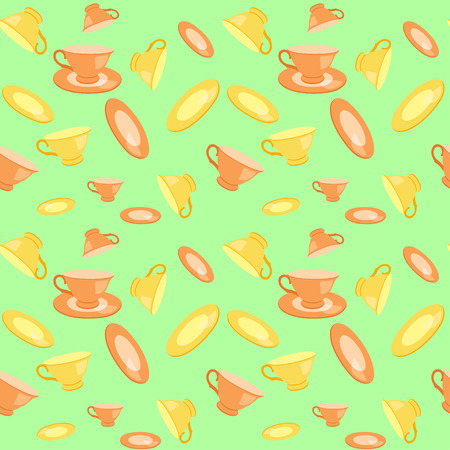 quencher: orange and yellow cups and plates seamless vector pattern Illustration