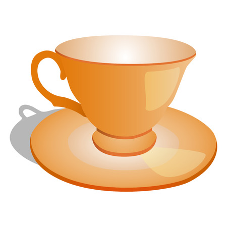 earthenware: empty cup on plate, vector illustration, isolated on white Illustration