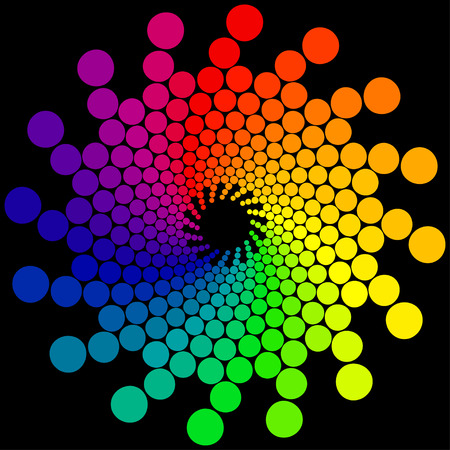selectively: Color wheel or color circle isolated on black background