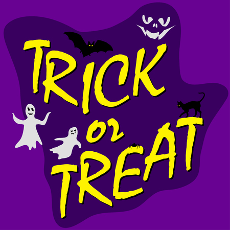 trick ot treat text, halloween card with bats, ghosts, cat and spider