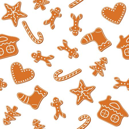 casita de dulces: Christmas cookies seamless, gingerbread man, candy cane, star, heart, tree and house - vector Vectores