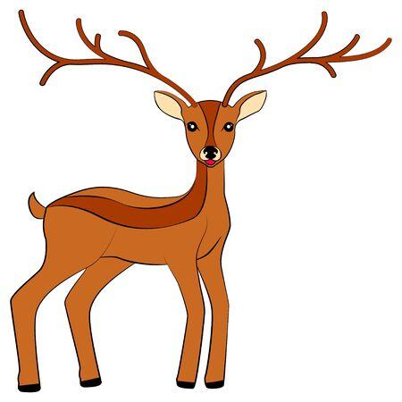grazing: cartoon deer with big horns, isolated vector illustration Illustration