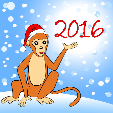 new year's cap: 2016 New Year card with monkey, vector illustration Illustration