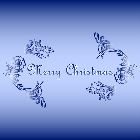 merry christmas text: Vector illustration of floral ornament with Merry Christmas text - can be used as a card Illustration