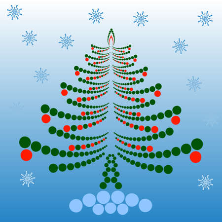 decorated christmas tree: Decorated Christmas tree made of circles. Vector illustration Illustration