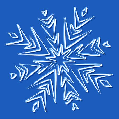 snow white: Vector illustration of a snowflake on blue Illustration