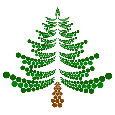 christmas tree illustration: Christmas tree made of circles. Vector illustration
