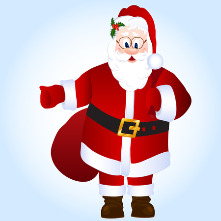 father frost: Cartoon Santa Claus isolated vector illustration with sack