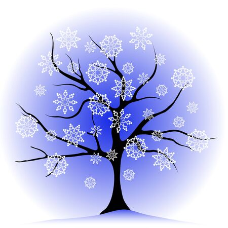 winter tree: winter tree and white snowflakes, seasonal isolated illustration Illustration