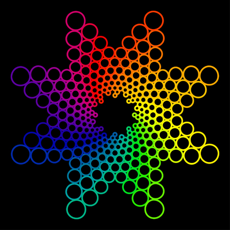 spectra: colorful abstract flower isolated on black background