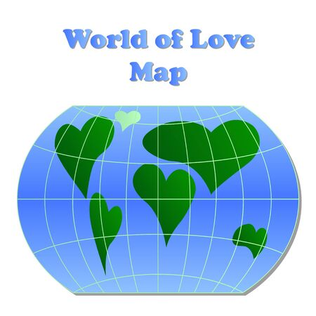 love of planet: A world globe with continents in the shape of a heart, planet love symbol Illustration