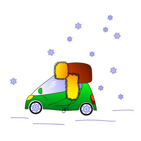 flaps: Green car in hat with ear flaps, snowy weather, winter  illustration