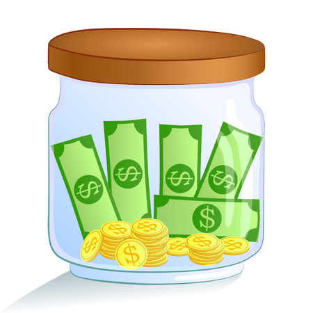 Saving money glass jar - with coins and dollars. illustration.