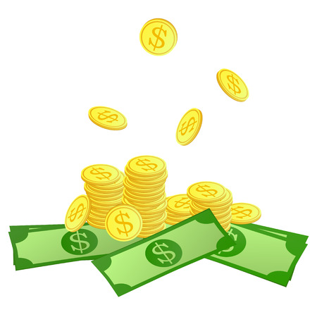 tax tips: Golden coins with dollar symbol and paper money. Vector illustration.