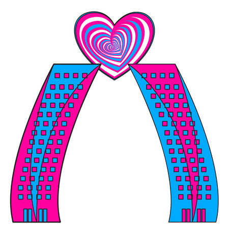 premises: two skyscrapers and heart symbol, vector conceptual illustration of love