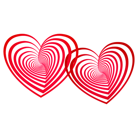 tenderness: stylized linked red hearts, couple - love symbol