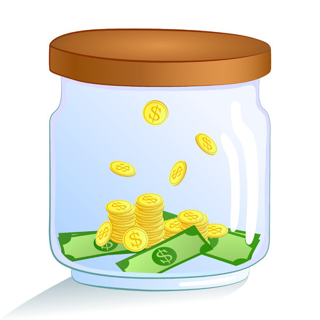 tax tips: Saving money glass jar - with golden coins and dollars. Vector illustration. Illustration