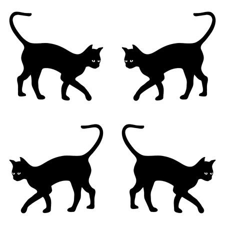 schwarze Katze Silhouette Vektor-Hintergrund, isoliert auf weiß Vektorgrafik