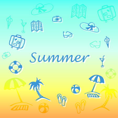sandal tree: summer text with vacation and travel icons collection silhouette illustrations
