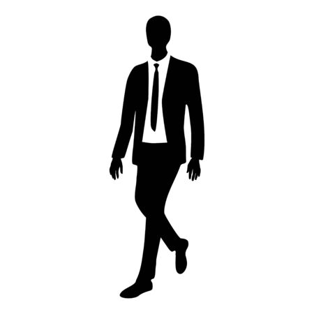siluette: silhouette of business man in motion, illustration