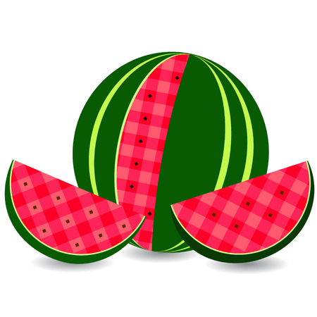 cellule: Flat icon watermelon and slice of watermelon. illustration, isolated on white.