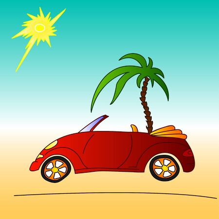 jorney: red car and palm tree, summer holidays travel on cabriolet, illustration Illustration
