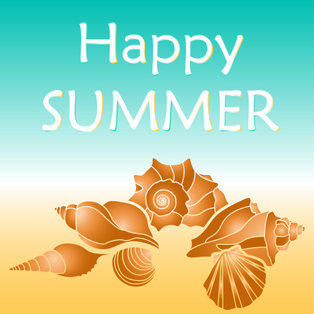 happy summer: sea shells, happy summer text, illustraion