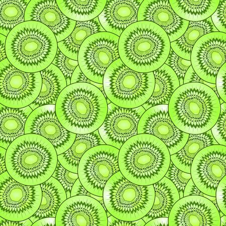 kiwi fruit: kiwi fruit slice, detailed illustration, seamless pattern