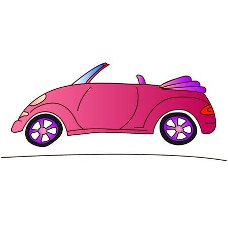 jorney: red lady car, traveling on cabriolet illustration